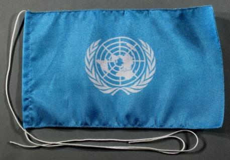 Tischflagge UNO Vereinte Nationen 25x15 cm optional mit Holz- oder Chromständ...