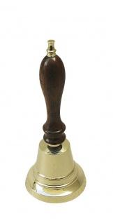 Tischglocke Holz / Messing mittel Handglocke H: 18cm, Ø: 7, 5cm Glocke - Vorschau 1