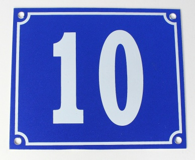 Hausnummernschild Aluminium Aluschild 1 mm Stärke Alu Schild Nr. 10 blau