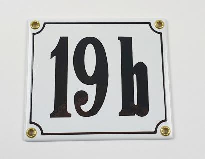 19b weiß / schwarz Clarendon 14x12 cm sofort lieferbar Schild Emaille Hausnummer