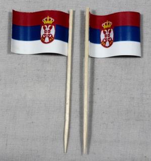 Party-Picker Flagge Serbien Papierfähnchen in Spitzenqualität 50 Stück Beutel
