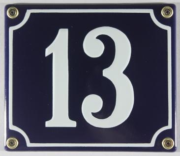 Hausnummernschild Emaille 13 blau - weiß 12x14 cm sofort lieferbar Schild Ema...