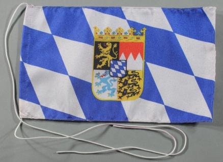 Tischflagge Bayern Raute mit Wappen 25x15 cm optional mit Holz- oder Chromstä...
