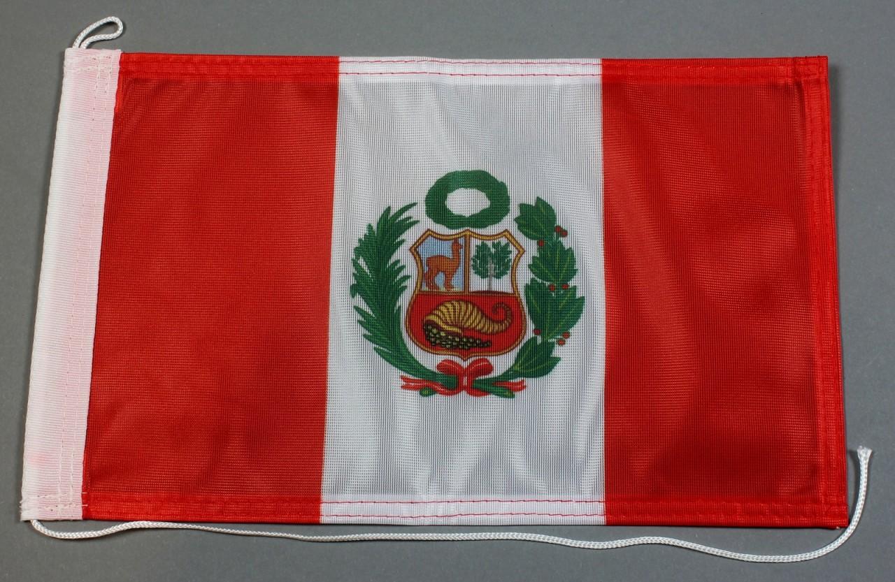 Bootsflagge Peru mit Wappen 30x20 cm Motorradflagge