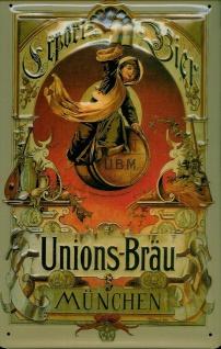 Blechschild Unions-Bräu München Bier nostalgisches Reklame Schild Werbeschild