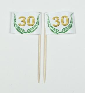"""Party-Picker Flagge Jubiläumskranz """" 30"""" Jubiläum Papierfähnchen in Spitzenqua..."""