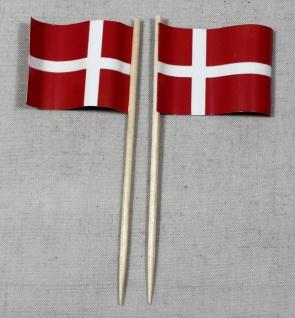 Party-Picker Flagge Dänemark Papierfähnchen in Spitzenqualität 50 Stück Beutel