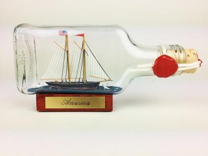 America Buddelschiff Flachmann 0, 1 Liter ca. 14x7 cm Schoner Flaschenschiff