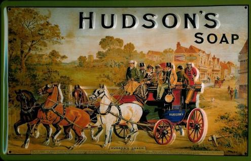 Blechschild Hudson Soap Pferdekutsche Seife Pferd Schild retro Werbeschild No...