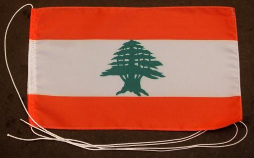 Tischflagge Libanon 25x15 cm optional mit Holz- oder Chromständer Tischfahne ...