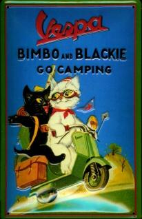 Blechschild Vespa Motorroller Bimbo and Blackie Camping Schild Nostalgieschild