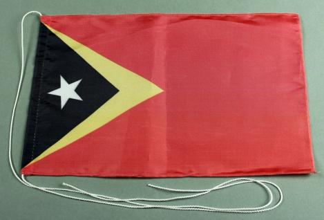 Tischflagge Ost Timor 25x15 cm optional mit Holz- oder Chromständer Tischfahn...