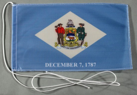 Tischflagge Delaware USA Bundesstaat US State 25x15 cm optional mit Holz- ode...