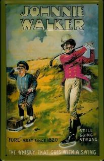 Blechschild Johnnie Walker Whisky Golf Caddy Golfplatz Schild retro Werbeschi...