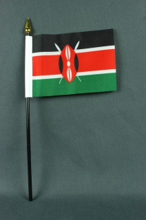Kleine Tischflagge Kenia 10x15 cm optional mit Tischfähnchenständer