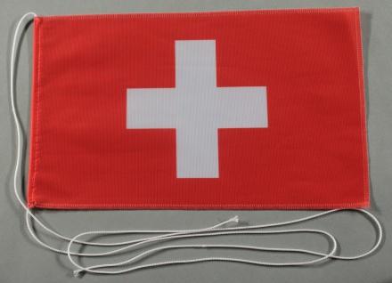 Tischflagge Schweiz Schweizerfahne 25x15 cm optional mit Holz- oder Chromstän...