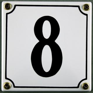Hausnummernschild 8 weiß 12x12 cm sofort lieferbar Schild Emaille Hausnummer ...