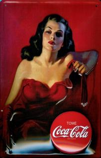 Blechschild Coca Cola Lady in Red Schild Werbeschild Nostalgieschild