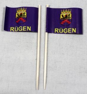 Party-Picker Flagge Rügen Papierfähnchen in Spitzenqualität 50 Stück Beutel