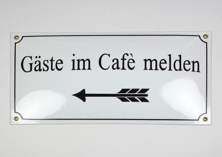 Gäste im Cafè melden Pfeil links weiss 40x20 cm sofort lieferbar Schild Email...