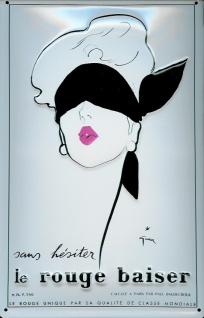 Blechschild Nostalgieschild Le rouge baiser Frau mit Augenbinde