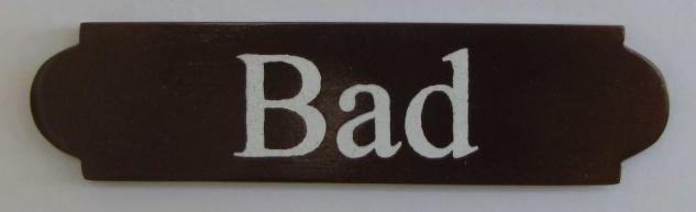 Eckiges Holz - Türschild Bad 3x12 cm dunkles Holzschild