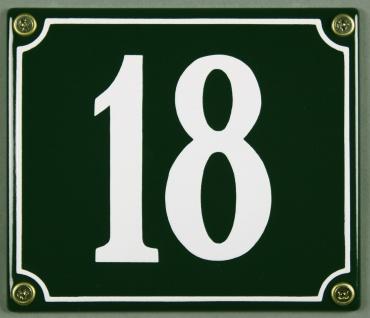 Hausnummernschild 18 grün 12x14 cm sofort lieferbar Schild Emaille Hausnummer...