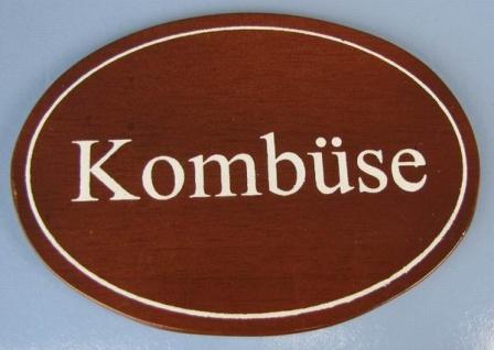 Ovales Holz - Türschild Kombüse 7x10 cm dunkles Holzschild