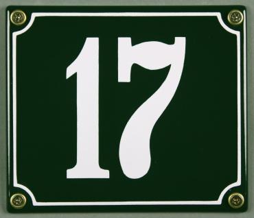 Hausnummernschild 17 grün 12x14 cm sofort lieferbar Schild Emaille Hausnummer...
