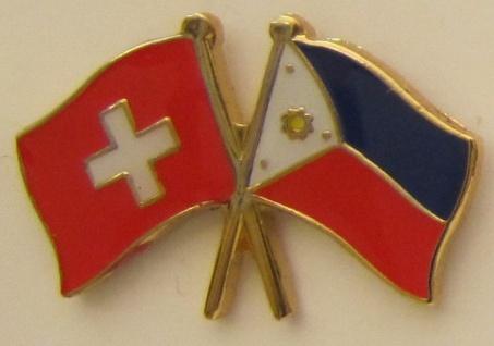 Schweiz / Philippinen Freundschafts Pin Anstecker Flagge Schweizerfahne Fahne...