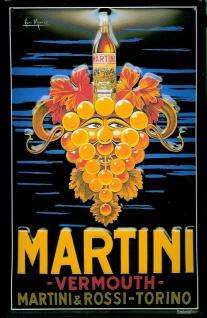 Blechschild Martini (1) Trauben Aperitif Weintrauben retro Schild Nostalgiesc...