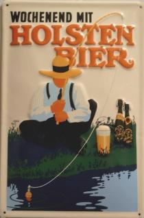 Blechschild Holsten Bier Wochenend Hamburg Angler retro Schild Werbeschild an...