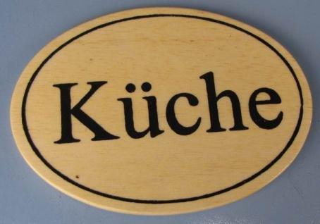Ovales Holz - Türschild Küche 7x10 cm helles Holzschild