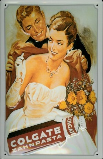 Blechschild Colgate Zahnpasta Dame Abendkleid Frau im Ballkleid Schild retro ...