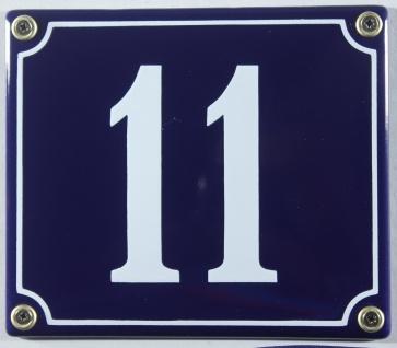 Hausnummernschild Emaille 11 blau - weiß 12x14 cm sofort lieferbar Schild Ema...