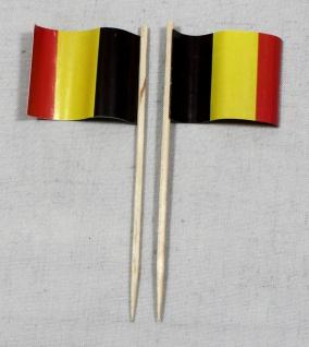 Party-Picker Flagge Belgien Papierfähnchen in Spitzenqualität 50 Stück Beutel