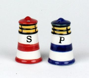 Maritime Leuchtturm Salz -/ Pfefferstreuer Salzstreuer 2-teilig blau und rot ...