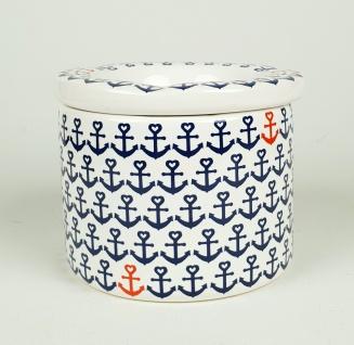Maritimer Aschenbecher Anker dunkelblau weiß Ascher Ø 9cm