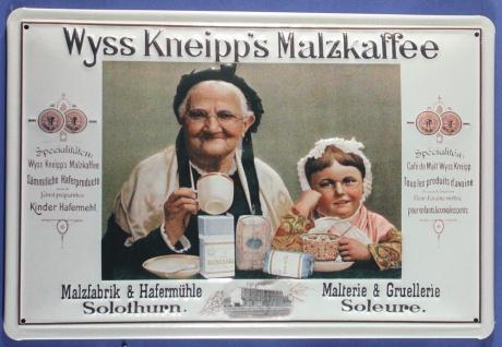 Blechschild Wyss Kneipp Malzkaffee Malz Kaffee Schild Nostalgieschild Werbesc...