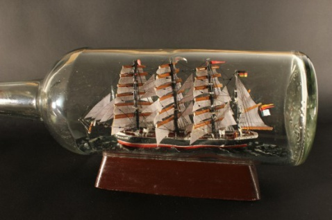 Passat 700 ml runde Flasche Buddelschiff Museumsqualität - Vorschau 2