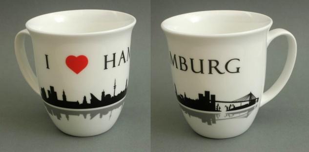 I love Hamburg Kaffeebecher Skyline 400ml Souvenir Kaffeetasse Kaffee Becher ...