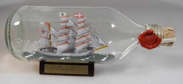 Eagle USA Coastguard runde Flasche 0, 3 Liter Buddelschiff Flaschenschiff
