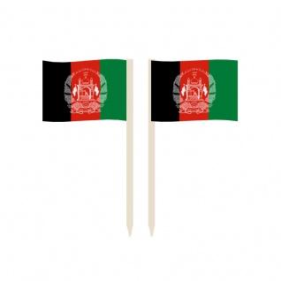 Party-Picker Flagge Afghanistan Papierfähnchen in Spitzenqualität 50 Stück Be...
