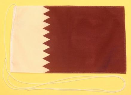 Tischflagge Katar 25x15 cm optional mit Holz- oder Chromständer Tischfahne Ti...