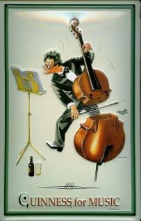 Blechschild Guinness Beer for music Cello Nostalgie Schild retro Werbeschild - Vorschau