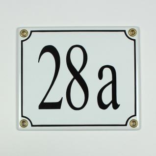28a weiß / schwarz Serif 14x12 cm sofort lieferbar Schild Emaille Hausnummer