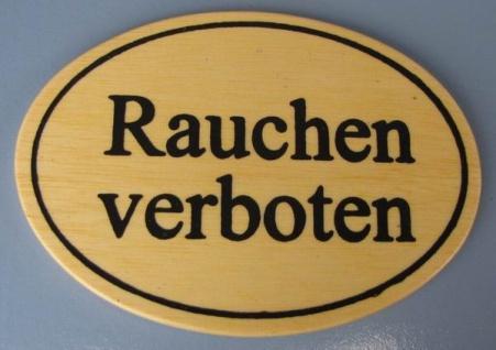 Ovales Holz - Türschild Rauchen verboten 7x10 cm helles Holzschild