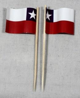 Party-Picker Flagge Chile Papierfähnchen in Spitzenqualität 50 Stück Beutel
