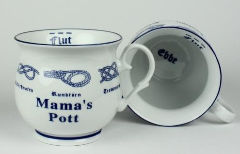 Mama´s Pott mit Seemannsknoten bauchig Kaffeebecher Kaffeetasse Kaffee Pott