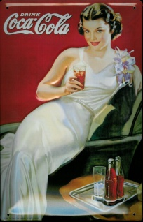 Blechschild Coca Cola Lady weisses Kleid Coke nostalgisches Werbeschild retro...